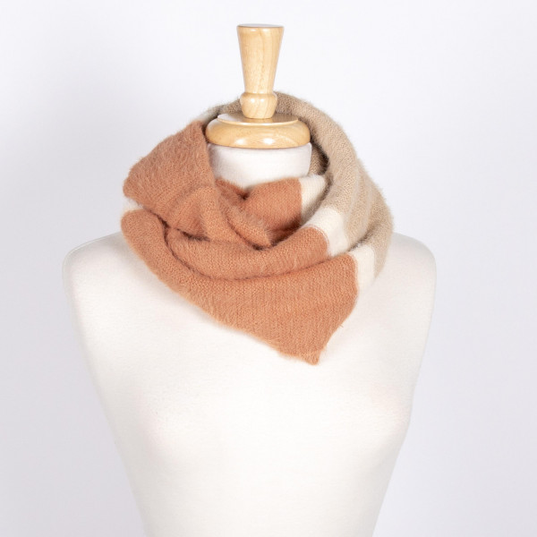Wholesale color block fuzzy infinity scarf acrylic