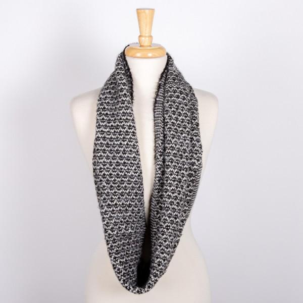 Marled knit infinity scarf. 100% acrylic.