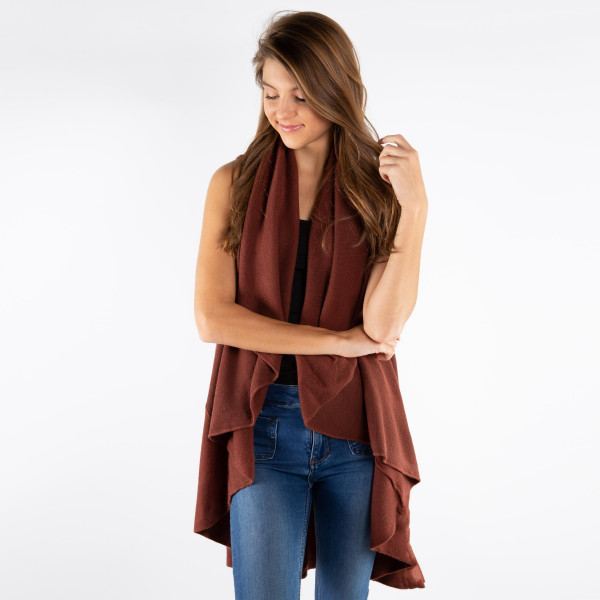 """Solid basic cape shawl vest. 100% acrylic. Size: 55 x 53""""   One size fits most."""