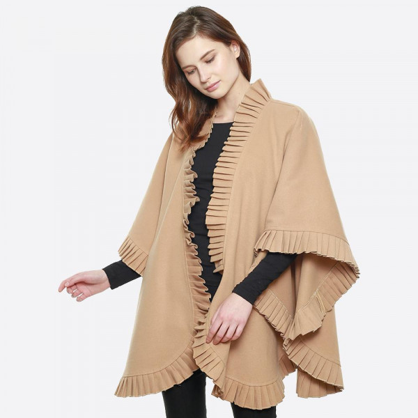 """Pleated edge cape shawl. 100% polyester. Size: 31.5 x 47.2""""   One size fits most."""