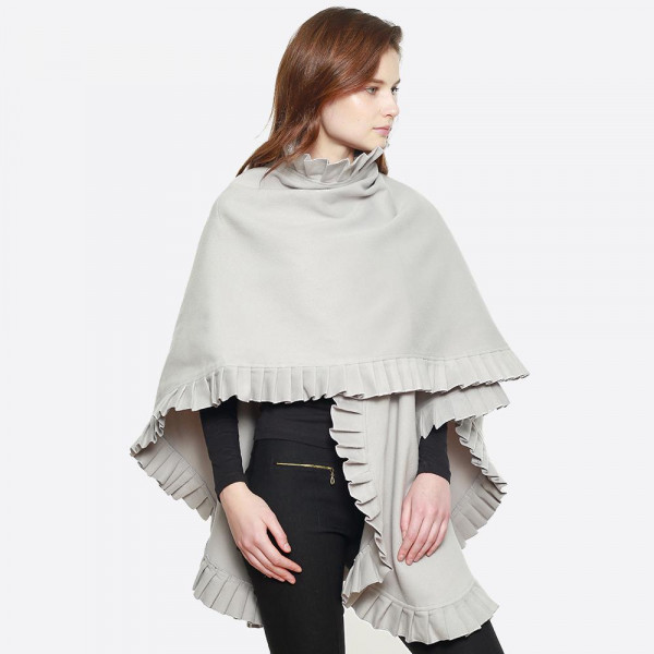 "Pleated edge cape shawl. 100% polyester. Size: 31.5 x 47.2""   One size fits most."