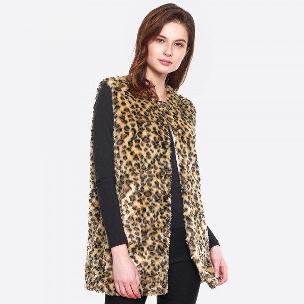 Faux fur leopard print vest. 100% polyester.   One size fits most.