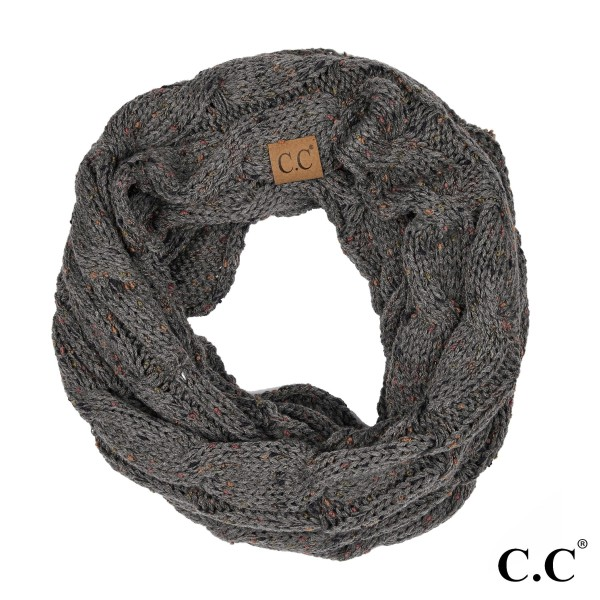 """SF-33: Confetti knit cable C.C infinity scarf. 100% acrylic.   Matches: MB-33, HAT-33, and G-33  W:13"""" x L: 57"""""""