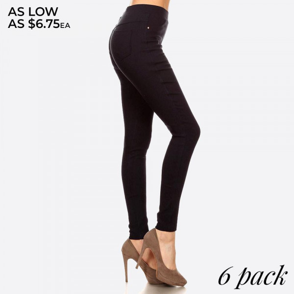Easy pull on styling with elastic waistband for all day comfort providing all around ease roominess.This jegging is done in a very flattering skinny fit. Best solution to all body shapes. 60% cotton, 35% polyester, and 5% spandex.   Pack breakdown: 2 Smalls, 2 Mediums, and 2 Larges.