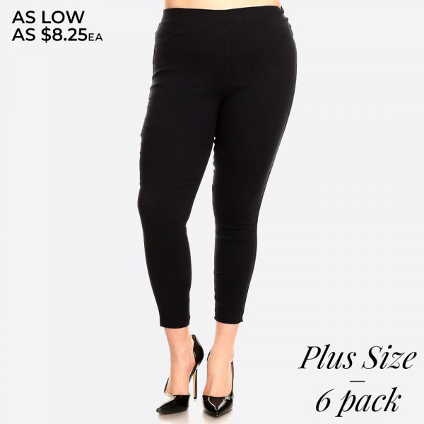 Easy pull on styling with elastic waistband for all day comfort providing all around ease roominess.This jegging is done in a very flattering skinny and curvy fit. Best solution to all body shapes. 60% cotton, 35% polyester, and 5% spandex.   Pack breakdown: two 1XL, two 2XL, and two 3XL.