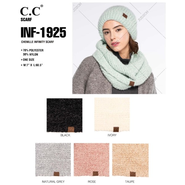 INF-1925: Chenille C.C Infinity scarf. 70% polyester and 30% nylon.