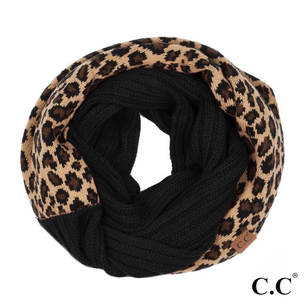 SF-45: Ribbed knit CC infinity scarf with leopard pattern. 100% acrylic.