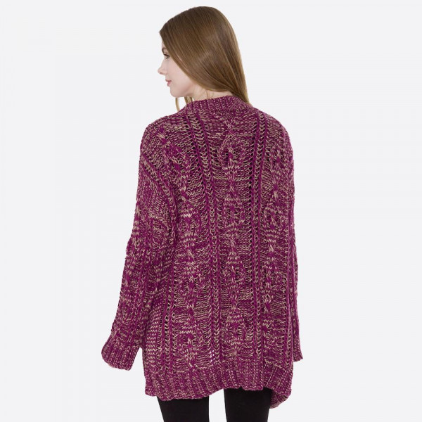 Cozy loose fitting cable knit cardigan with two front pockets. 100% acrylic. One size fits most.