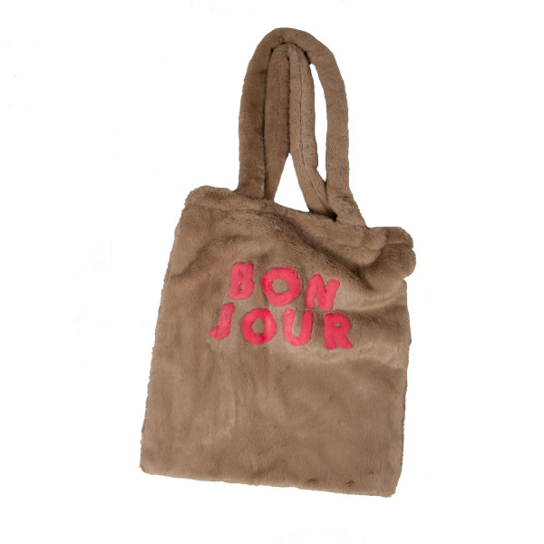 """""""Bonjour"""" Faux fur 100% polyester tote. Approximate 13"""" wide and 14.5"""" long."""