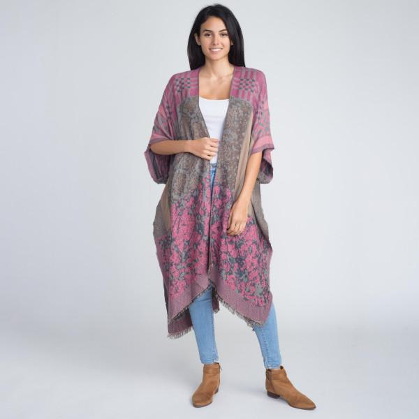 Long comfy mixed pattern kimono. 100% acrylic.   One size fits most.