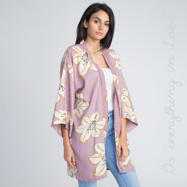 Floral print kimono. 100% acrylic.   One size fits most.