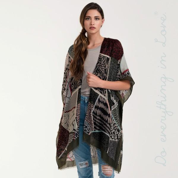 Multi mixed print lightweight kimono. 100% viscose.