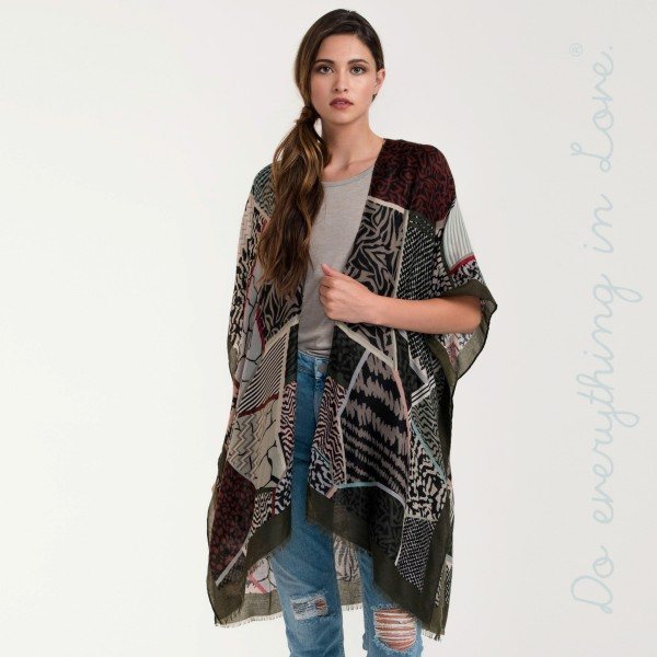 Multi mixed print lightweight kimono.   - 100% Viscose