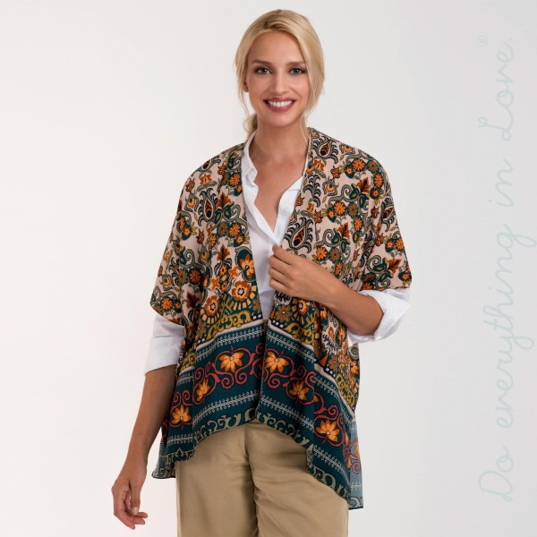 Floral print short sleeve kimono. 100% polyester.   One size fits most.