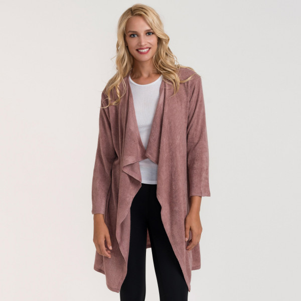 Waterfall lapel cozy knitted cardigan. 95% acrylic and 5% spandex.