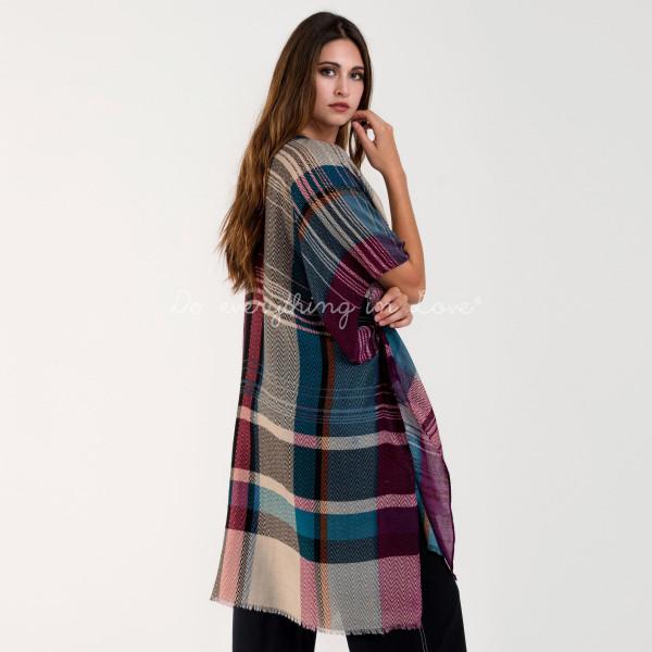 "Lightweight plaid kimono. 100% polyester. L: 39.3"" x W: 34.4"""