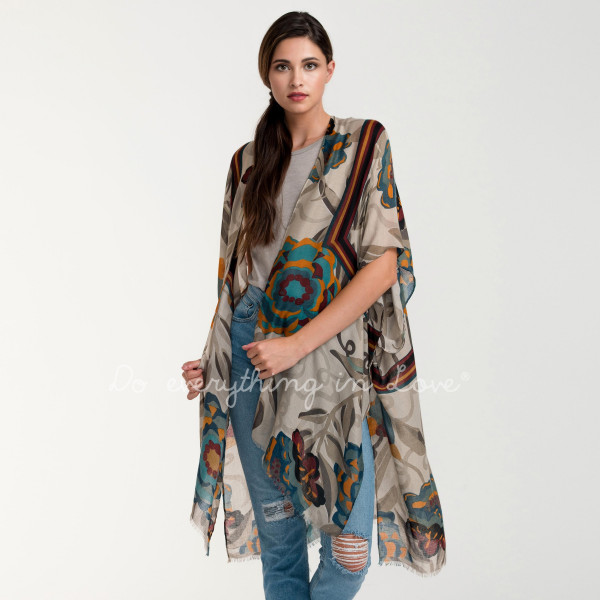 Lightweight floral kimono. 100% acrylic.   One size fits most.