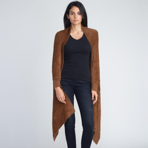 Mohair asymmetrical cardigan. 100% acrylic.   One size fits most.
