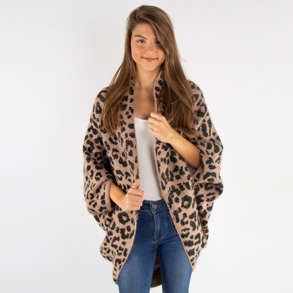 Leopard print cocoon cardigan. 100% polyester. One size fits most.