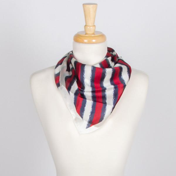 "Tri-Colored Stripe Silky Bandana 100% Polyester 27.5""x27.5"""