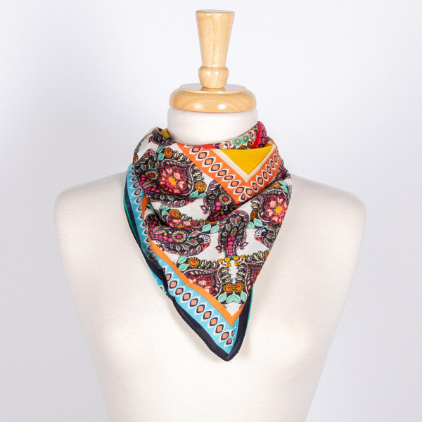 Mulit Colored Damask Print Scarf.  100% Polyester; L 31.4 x W 27.5