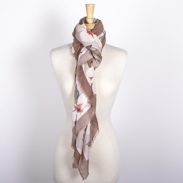 Lightweight floral scarf. 100% acrylic.
