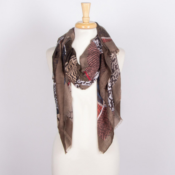 Multi colored animal print scarf. 100% acrylic.