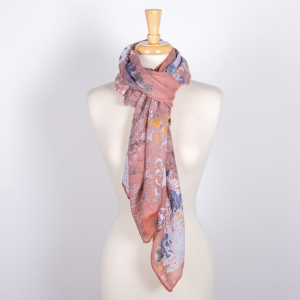 Light weight floral print scarf. 100% polyester.