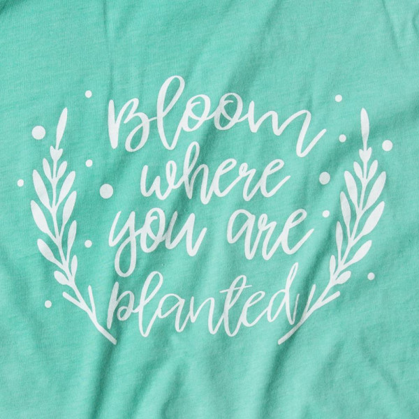 BLOOM WHERE YOU ARE PLANTED - Short Sleeve Boutique Graphic Tee. These t-shirts are sold in a 6 pack. S:1 M:2 L:2 XL:1 35% Cotton 65% Polyester Brand: Canvas