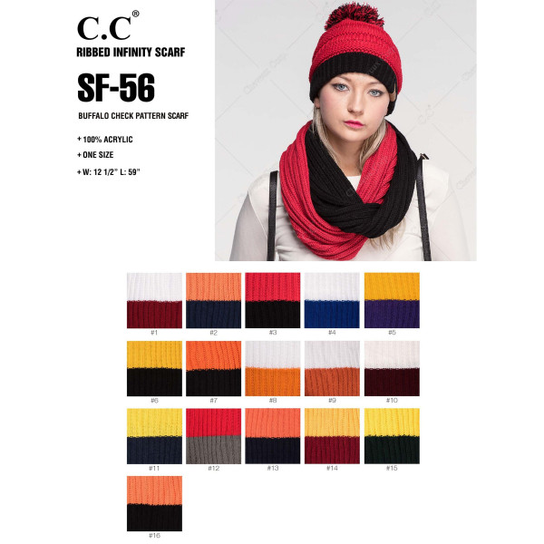 """C.C SF-56 Two tone ribbed scarf  - 100% Acrylic - One size fits most - W:12.5"""" X L:59"""""""