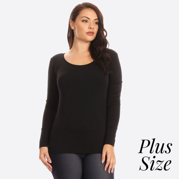 This Seamless Long Sleeve Top is perfect to layer or wear on its own.   • Seamless knit top  • Scoop neckline  • Long sleeves  • Seamless finish  • Silk satin edging lies flat against skin  • Fitted silhouette  • Pullover style  - One size fits most plus 16-22  - Composition: 92% Nylon, 8% Spandex