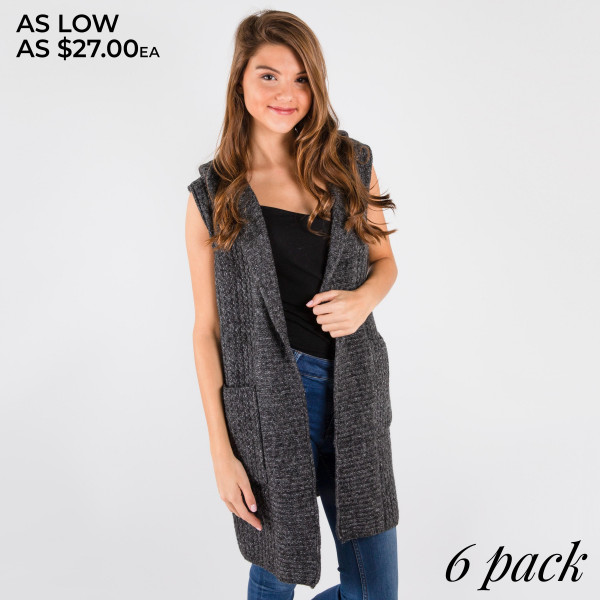 Long line hoodie vest with patch pockets.   Pack breakdown: 3 S/M and 3 L/XL