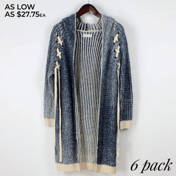 Heavyweight cardigan with lace up detail. 100% acrylic.   Pack Breakdown: 3 S/M and 3 L/XL