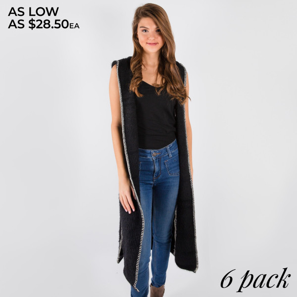 Sleeveless hooded duster vest with contrast embroidered details.  - Pack breakdown: 6pcs / pack - Sizes: 3-S/M / 3-L/XL