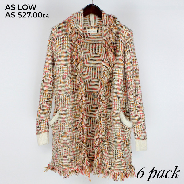 Long sleeve texture open front cardigan with fringe detail.   Pack breakdown: 3 S/M and 3 L/XL