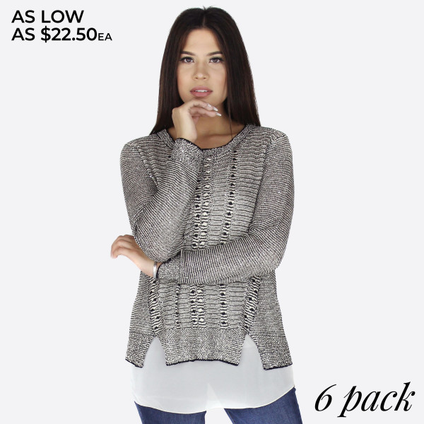 Long sleeve, scoop neck layered sweater.   Pack breakdown: 3 S/M and 3 L/XL