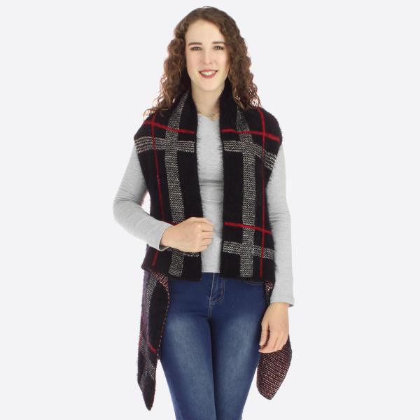 Eyelash plaid vest.   One size fits most.