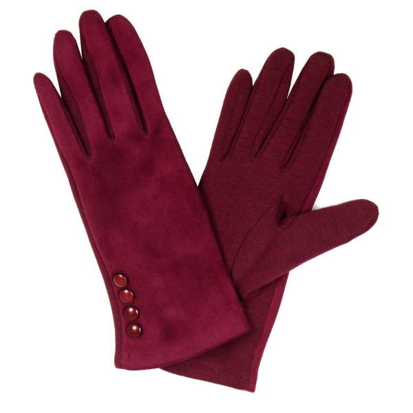 Soft gloves with button details and fuzzy lining.   - One size fits most  - 100% Acrylic