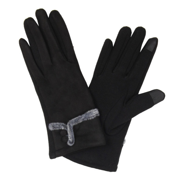 Faux suede gloves with smart tips and faux fur trim.  - One size fits most - 100% Acrylic
