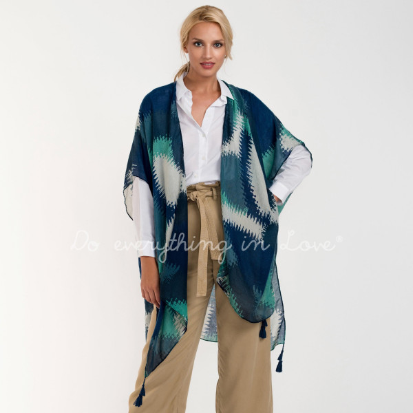 Geometric mosaic lightweight kimono. 100% viscose.   One size fits most.