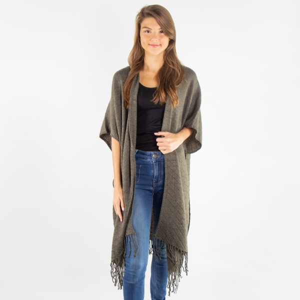 Solid color kimono with fringe. 100% acrylic.   One size fits most.