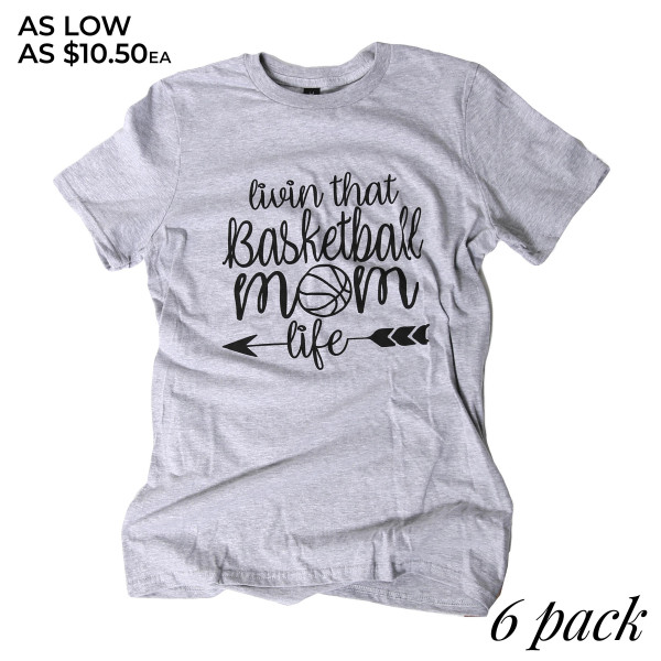 LIVING THAT BASKETBALL MOM LIFE - Short Sleeve Boutique Graphic Tee. These t-shirts are sold in a 6 pack. S:1 M:2 L:2 XL:1 35% Cotton 65% Polyester Brand: ANVIL