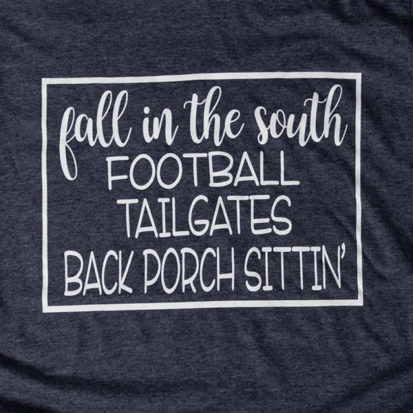 FALL IN THE SOUTH - Short Sleeve Boutique Graphic Tee. These t-shirts are sold in a 6 pack. S:1 M:2 L:2 XL:1 35% Cotton 65% Polyester Brand: Anvil