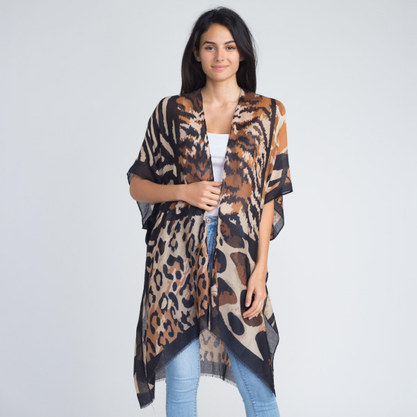 Animal print kimono. 100% viscose. One size fits most.