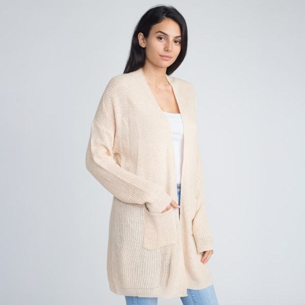 Lightweight cardigan with front pockets. 55% acrylic and 45% cotton.   One size fits most. Women's S-XL