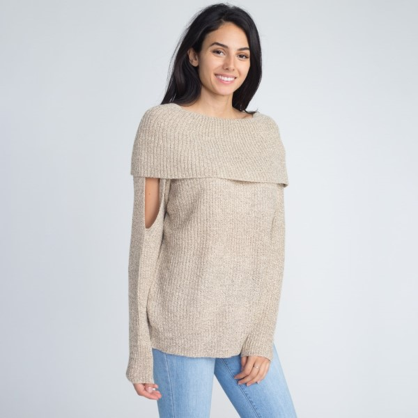 Off the shoulder sweater with cutout detail. 55% acrylic and 45% cotton.  One size fits most women's sizes S-L.