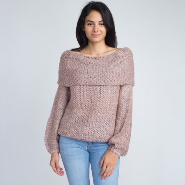 Off the shoulder sweater. 55% acrylic and 45% cotton.  One size fits most.