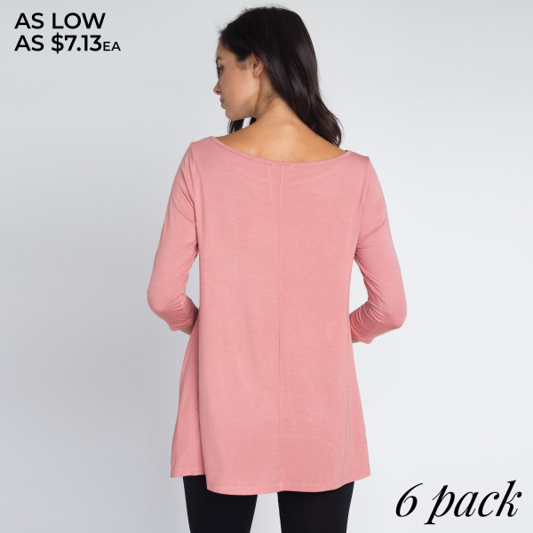 Who runs the world? With our most requested tunic it will always be you! Lightweight jersey knit sweeps across a rounded neckline and falls to fitted three-quarter sleeves. Comfy swing silhouette flares gently to a perfect finish. Hidden side seam pockets.   • Relax Scoop Neckline  • ¾ Fitted Sleeves  • Side Pockets  • Swing Style Bodice  • Solid Color  • Closure Style: Pullover  • Hand Wash Cold/Tumble Dry/Iron Low/Do not Dry Clean  • Import    - Pack Breakdown: 6pcs / pack   - Sizes: 2S / 2M / 2L   - Composition: 95% Rayon, 5% Spandex