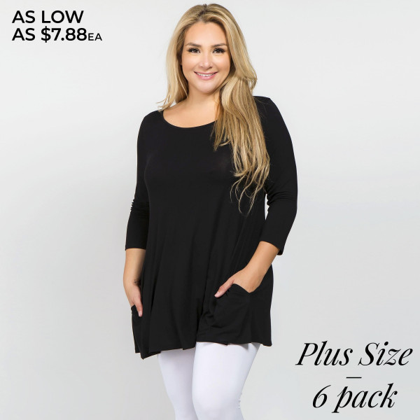Who runs the world? With our most requested tunic it will always be you! Lightweight jersey knit sweeps across a rounded neckline and falls to fitted three-quarter sleeves. Comfy swing silhouette flares gently to a perfect finish. Hidden side seam pockets.   • Relax Scoop Neckline  • ¾ Fitted Sleeves  • Side Pockets  • Swing Style Bodice  • Solid Color  • Closure Style: Pullover  • Hand Wash Cold/Tumble Dry/Iron Low/Do not Dry Clean  • Import   Content: 95% Rayon, 5% Spandex   Pack Breakdown: 6pcs/pack. 2XL: 2XXL: 2XXXL