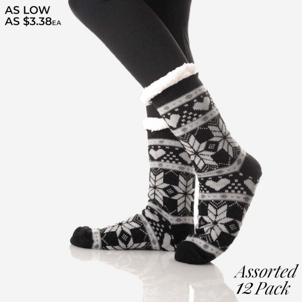 If snowflakes are one of your favorite things, then why not wear them on your feet? Faux sherpa lined slipper socks feature a snowflake pattern that'll get you in the spirit of the holidays and keep you super-warm through it! Ideal for indoor wear on cold days!   • Unique, pattern designs on exterior  • Reinforced toe seam  • Thick  • Breathable  • Rubber dot traction bottom  • Plush faux sherpa lining  • Imported   Content: 40% Acrylic, 60% Polyester   Pack Breakdown: 12 pairs/pack- 6 Different Colors / One Size (9-11)